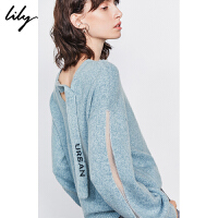 Lily2019冬新款女装气质飘带宽松休闲字母提花套头毛针织衫8913