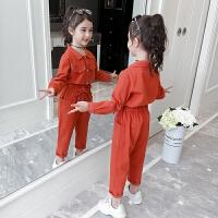 童装女童秋装套装儿童网红工装春秋洋气两件套潮衣