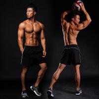 运动短裤男士健身训练跑步排汗速干宽松休闲裤五分裤短裤【潮流】【超火】 黑色