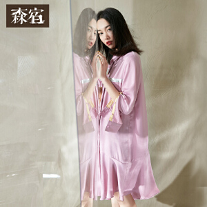 森宿CZ幻想未停止春秋装女新款不对称荷叶边下摆修身连衣裙