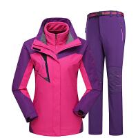 户外服装冲锋衣裤套装男女三合一冲锋衣两件套加绒加厚冲锋裤防寒滑雪登山服
