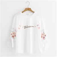 花朵刺�C白色T恤女�n版上衣��松短款�W生打底衫2018新款 白色