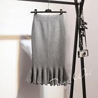 韩版针织包臀裙秋冬女中长款荷叶边鱼尾裙包裙高腰半身裙一步裙子 灰色 均码