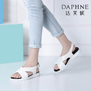 Daphne/达芙妮夏季女鞋时尚休闲纯色一字扣凉鞋平底鞋-