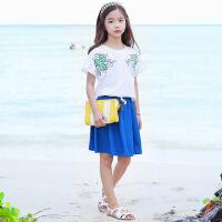 韩版女童套装中大童绣花童T童裙套装