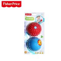 费雪婴儿童4寸手柄球摇铃球类玩具宝宝手抓球皮球6-12-18个月 触感球(两只装)