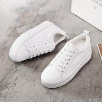 新款春夏季内增高真皮小白鞋 厚底休闲系带单鞋女式版鞋 白色