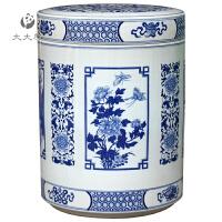 青花瓷 景德镇陶瓷米缸米桶带盖20 50 100斤水缸泡菜缸家用储物罐