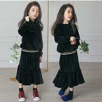 春秋季韩版童装新款女童两件套休闲上衣+荷叶边裙子套装加厚丝绒