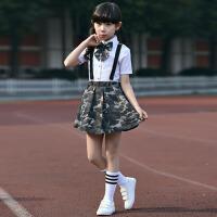 男童女童背带裤 迷彩军训套装儿童中小学生表演大合唱演出服装