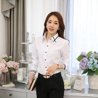 茉蒂菲莉 衬衫 女士条纹折领长袖单色衬衣秋季韩版新款时尚修身显瘦百搭女式工作服女装