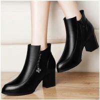 新款古奇天伦裸靴粗跟短靴子马丁靴女高跟女鞋秋冬季百搭韩版