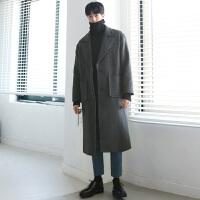 冬季羊绒大衣男韩版长款双面羊绒大衣男士毛呢外套宽松大翻领加厚 灰色(加棉) S