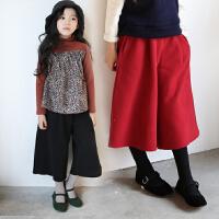 冬季新款韩版女童打底裤加绒休闲阔腿裤加厚中大童高腰九分直筒裤