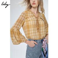 【5/26-6/1 一口价:266元】 Lily2020夏季新款女装仙气泡泡袖黄色格纹宽松长袖上衣衬衫雪纺衫