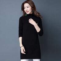 秋冬季新款半高领套头毛衣女中长款显瘦毛衣裙长袖羊绒针织打底衫