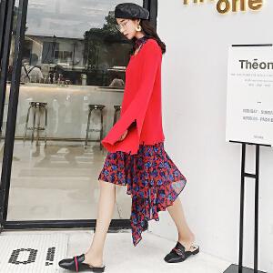七格格针织衫女套头破洞秋冬装新款2017韩版红色外穿长袖潮宽松慵懒上衣