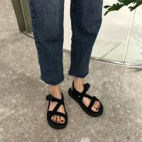夏季韩国时尚绒面凉鞋女百搭休闲个性套脚露趾平底鞋学生女鞋子 黑色