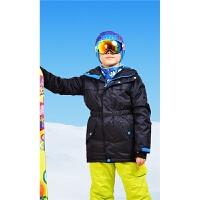 儿童户外滑雪服防水抗寒中长款滑雪衣时尚男女童儿童保暖