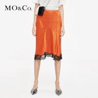 MOCO2019夏季新品不规则蕾丝拼接半身裙MAI2SKT022 摩安珂