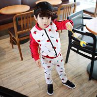 春秋季韩版时尚童装儿童男童卫衣套装女童纯棉印花套运动服