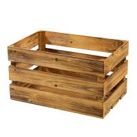 复古木箱储物箱实木收纳箱橱窗装饰摆件道具超市陈列小木箱子 三层 50*32*28cm