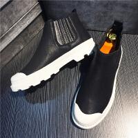秋季男鞋马丁靴高帮鞋男韩版休闲工装鞋吴迪同款鞋子厚底增高鞋潮 黑色 百搭