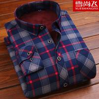 冬季男士保暖衬衫加绒加厚中年修身衬衣长袖印花衬衫男装