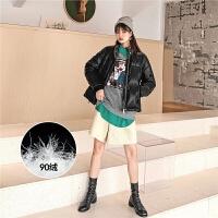 七格格亮面PU皮羽绒服女2019新款时尚韩版宽松冬季短款工装外套潮