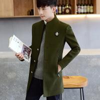 新款冬季风衣男士修身中长款呢子外套男韩版帅气立领妮子大衣 绿色 5