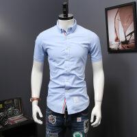 2018夏季新款个性时尚衬衫男士短袖欧美休闲修身衬衣男