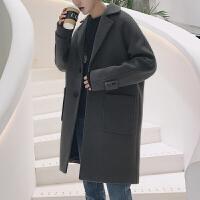 韩版宽松风衣男中长款冬装新款呢子外套青年潮流男装休闲毛呢大衣 水泥色 M