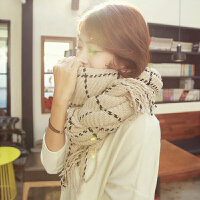 韩版流苏格子围巾女冬季女士百搭原宿 情侣针织毛线围巾长款保暖