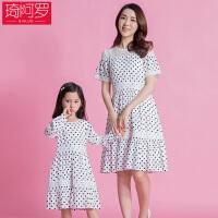 亲子装夏2018新款连衣裙时尚韩版短袖母女裙公主裙
