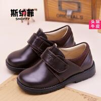 斯纳菲童鞋 男童皮鞋学生黑色皮鞋演出鞋 春季新款中大童真皮