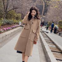 实拍 秋冬宠儿 韩国气质驼立体剪裁宽松茧形羊毛呢大衣女呢料外套 卡其色 夹棉