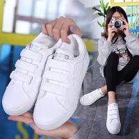 新百伦支撑 2018魔术贴小白鞋女初中学生鞋春季新款韩版白色板鞋百搭平底女生鞋子