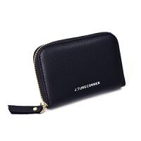 韩版多卡位风琴卡包女式 新款简约大气薄拉链驾驶证*钱包
