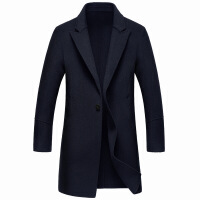 秋冬新款手工制做双面呢羊绒大衣中长款羊毛呢大衣男士外套 藏青色