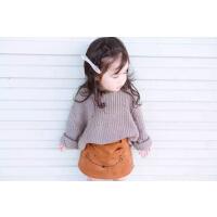 2015冬新款女童宝宝超柔软韩系松垮厚毛衣+ 麂皮狐狸短裙半裙套装