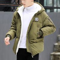 加绒加厚秋冬新款棉衣外套面包服 绣标军绿色保暖防寒青年学生潮