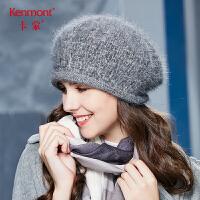 卡蒙兔毛艺术帽子女韩版秋冬天毛毛贝雷帽优雅纯色卷边圆顶针织帽2640