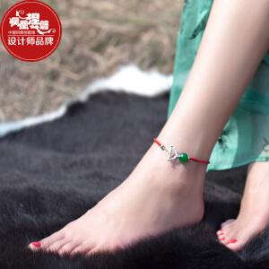 凤凰涅磐脚链女 红绳石榴石镀金件铃铛甜美简约时尚个性学生配饰