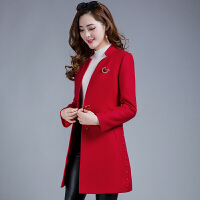 秋冬装新款韩版修身中长款女士加厚中年毛妮毛呢外套妮子呢子