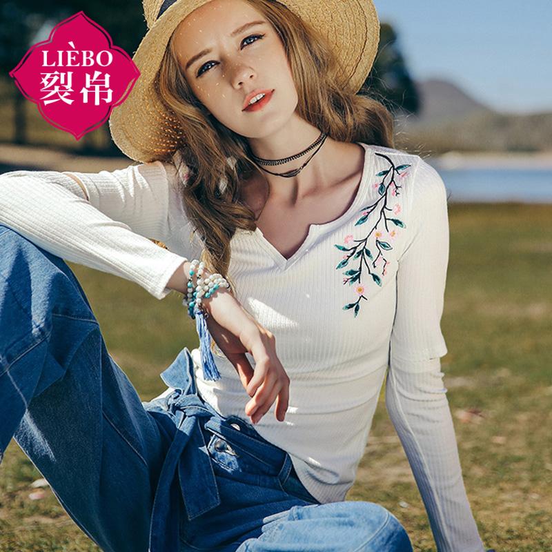 【2件8折/3件7折】裂帛女装2018夏装新款V字圆领刺绣长袖套头衫针织合体T恤女