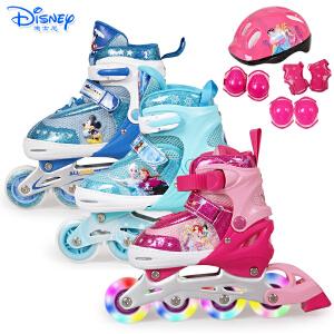 迪士尼儿童溜冰鞋轮滑旱冰鞋男女童八轮全闪直排轮滑鞋