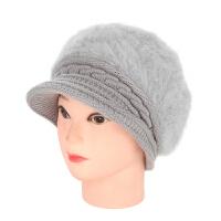 老人帽子女冬天针织毛线帽兔毛帽妈妈帽棉帽中老年帽护耳