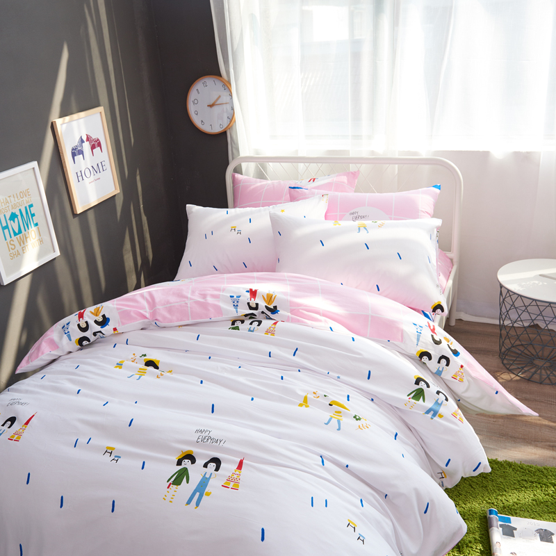 家纺北欧简约纯棉被套床单四件套1.5m1.8米全棉床笠床单双人床上用品