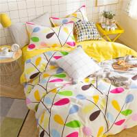 网红夏季ins风床上四件套纯棉学生宿舍被套床单被子三件套4 明黄色 枝繁叶茂zf