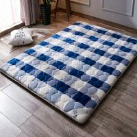 冬天加厚保暖软床垫1.5m1.8米床褥子单人1.2米海绵垫折叠地铺垫被 格调蓝 7厘米厚